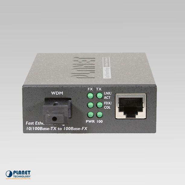 FT-806A20 10/100TX - 100Base-FX (WDM) Bi-directional Fiber Converter (SM, SC, 1310nm, 20km, LFPT)