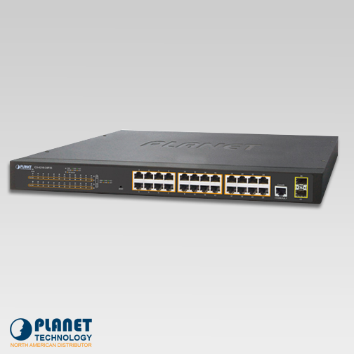 GS-4210-24P2S 24-Port 10/100/1000T 802.3at PoE + 2-Port 100/1000X SFP Managed Switch