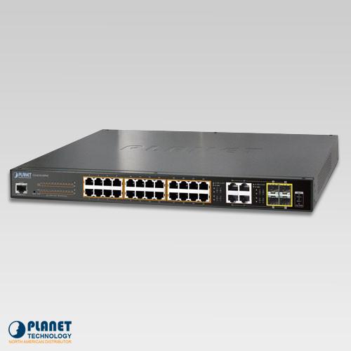 GS-4210-24PL4C IPv6/IPv4, 24-Port Managed 802.3at POE+ Gigabit Ethernet Switch + 4-Port Gigabit Combo TP/SFP (440W)
