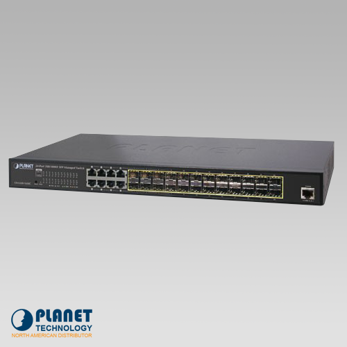 GS-5220-16S8C L2+ 24-Port 100/1000X SFP + 8-Port Shared TP Managed Switch