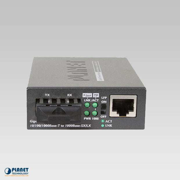 GT-802S 10/100/1000Base-T to 1000LX Gigabit Media Converter (SM, SC, 10km)