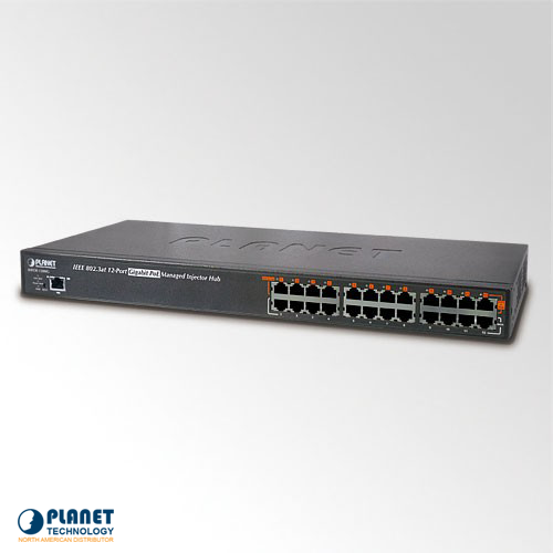 HPOE-1200G 12-Port Gigabit IEEE 802.3at PoE+ Managed Injector Hub (360W)