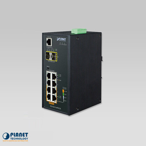 IGS-4215-4P4T2S Industrial 4-Port 10/100/1000T 802.3at PoE + 4-Port 10/100/1000T + 2-Port 100/1000X SFP Managed Switch (-40~75°C)