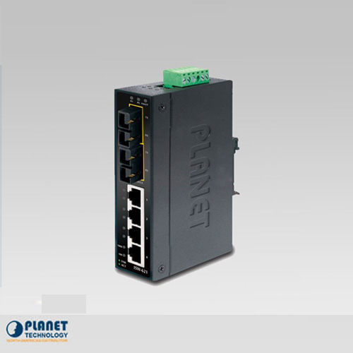 ISW-621TS15 IP30 Industrial Ethernet Switch 4-Port 10/100Base-TX + 2-Port 100Base-FX  (SM, SC 15km) (-40 ~ 75C)
