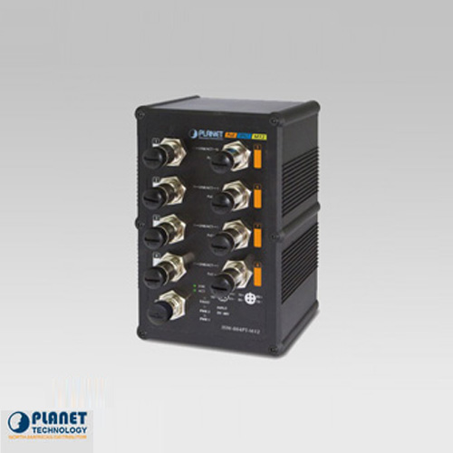 ISW-804PT-M12 Industrial IP67 Rated M12 Fast Ethernet PoE Switch 8-Port 10/100Base-TX (-40 ~ 75C)