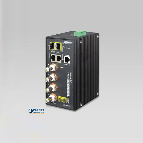LRP-422CST Industrial 4-port Coax + 2-port 10/100/1000T + 2-port 100/1000X SFP Long Reach PoE over Coaxial Managed Switch