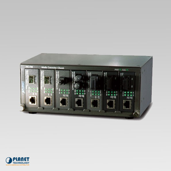 MC-700  7-Slot Media Converter Chassis (Fixed AC Power Supply)