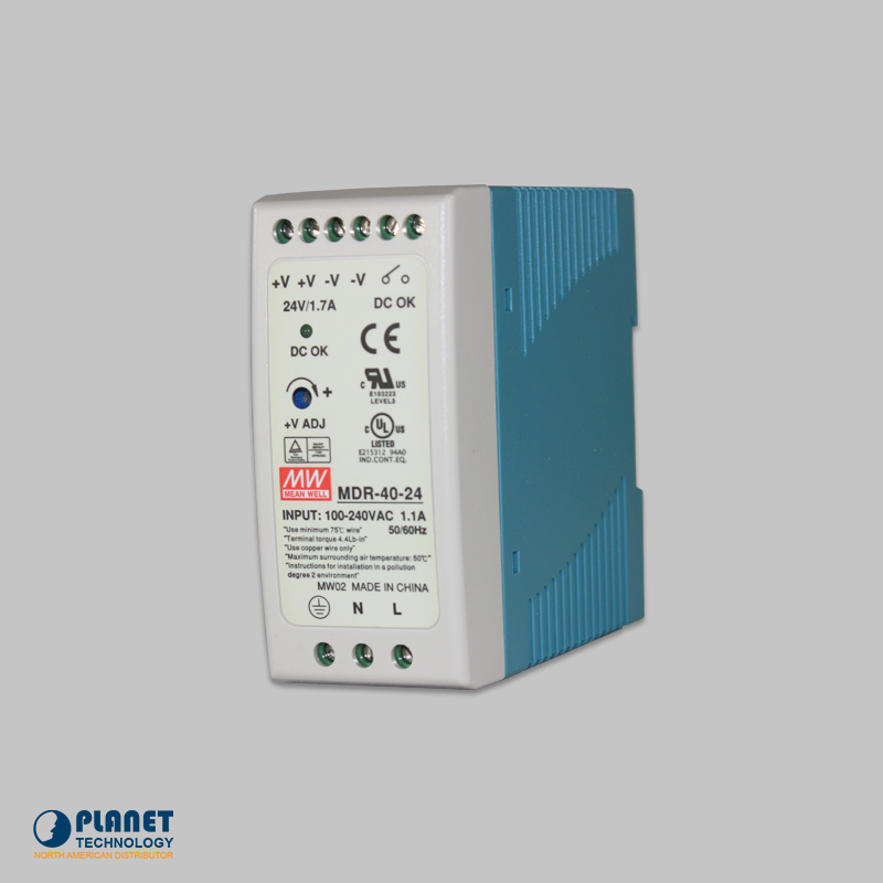PWR-40-24 24V, 40W Din-Rail Power Supply (MDR-40-24) - slim type