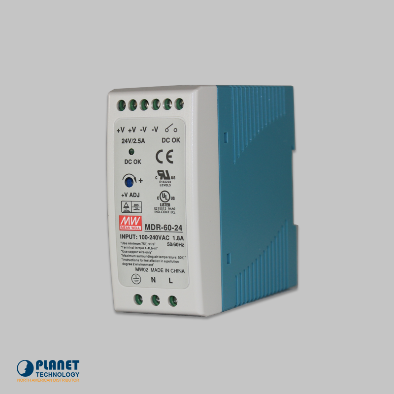 PWR-60-24 24V, 60W Din-Rail Power Supply (MDR-60-24) - slim type