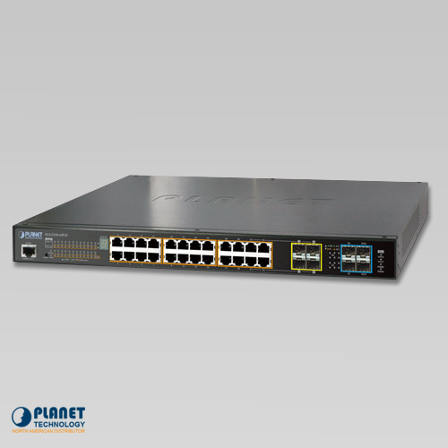 SGS-5220-24P2X L2+ 24-Port 10/100/1000T 802.3at PoE + 2-Port 10G SFP+ Managed Stackable Switch / 440W