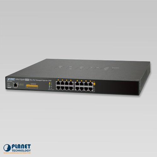 UPOE-800G 8-Port Gigabit 60W Ultra PoE Managed Injector Hub (400W)