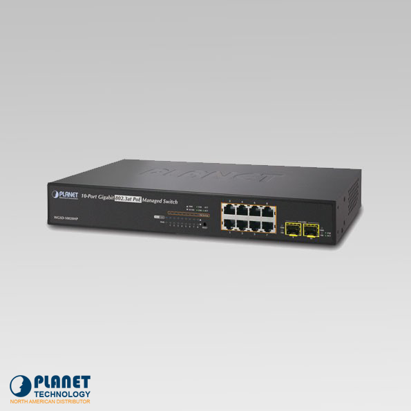 WGSD-10020HP 8-Port 10/100/1000Mbps + 2 100/1000X SFP Managed 802.3at PoE Switch (150W)