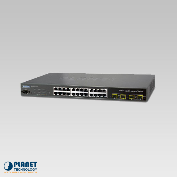 WGSW-24040R Managed Switch 24-Port 10/100/1000Mbps with 4 Shared SFP and 48VDC Redundant Power