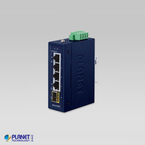 IGS-510TF Industrial Compact 4-Port 10/100/1000T + 1-Port 100/1000X SFP Gigabit Ethernet Switch