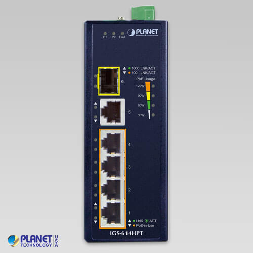 IGS-614HPT Industrial PoE Switch Front