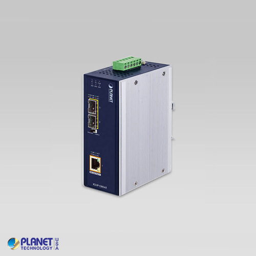 IGUP-1205AT Industrial 2-Port 100/1000X SFP to 1-Port 10/100/1000T 802.3bt PoE++ Media Converter