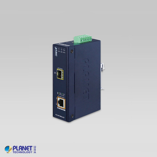 IGUP-805AT Industrial 1-Port 100/1000X SFP to 1-Port 10/100/1000T 802.3bt PoE++ Media Converter