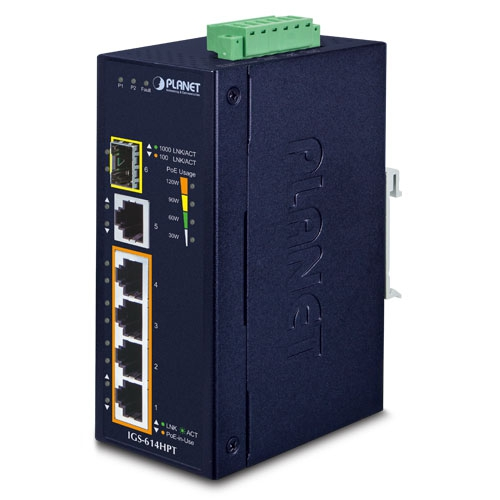 IGS-614HPT Industrial 4-Port 10/100/1000T 802.3at PoE + 1-Port 10/100/1000T + 1-Port 100/1000X SFP Gigabit Ethernet Switch