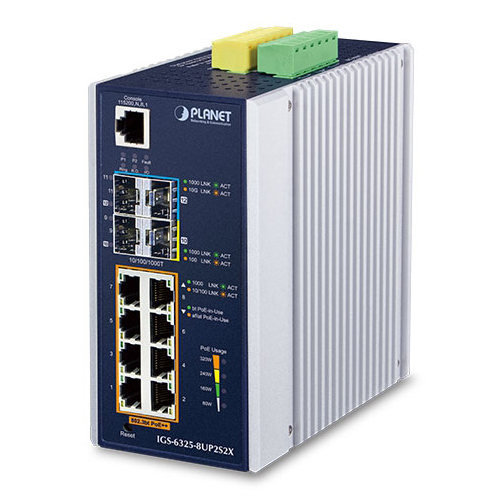 IGS-6325-8UP2S2X Industrial L3 8-Port 10/100/1000T 802.3bt PoE + 2-Port 1G/2.5G SFP + 2-Port 10G SFP+ Managed Ethernet Switch