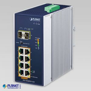IGS-1020PTF-12V Industrial 8-Port 10/100/1000T 802.3at PoE + 2-Port 100/1000X SFP Ethernet Switch w/ 12V Booster (-40~75C)