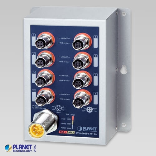 ISW-808PT-M12A Industrial 8-Port 10/100TX M12 802.3at PoE+ Switch