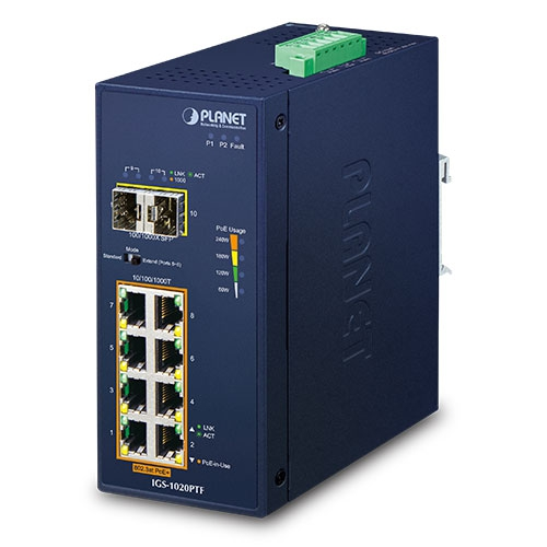 IGS-1020PTF Industrial 8-Port 10/100/1000T 802.3at PoE + 2-Port 100/1000X SFP Ethernet Switch (-40~75C)