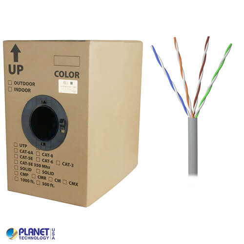 CP-350-SD-1K-GY 1000ft Bare Copper 24AWG CMR UTP Cat5e Bulk Cable, 350MHz, Solid Wire - Gray