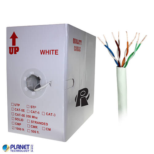 CP-C5E-SDP-WH 1000ft Bare Copper Cat5e Bulk Cable, 350MHz, Plenum, Solid Wire - White