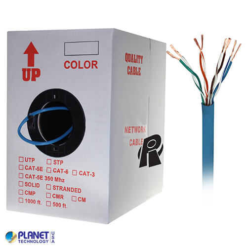 CP-C5E-ST-1K-BL 1000ft Bare Copper Cat5e Bulk Cable, 350MHz, Stranded Wire - Blue