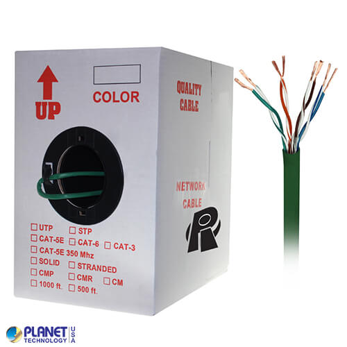 CP-C5E-ST-1K-GN 1000ft Bare Copper Cat5e Bulk Cable, 350MHz, Stranded Wire - Green
