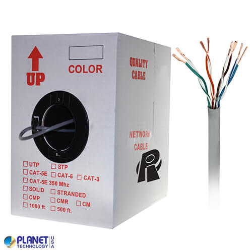 CP-C5E-ST-1K-GY 1000ft Bare Copper Cat5e Bulk Cable, 350MHz, Stranded Wire - Gray