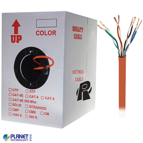 CP-C5E-ST-1K-OR 1000ft Bare Copper Cat5e Bulk Cable, 350MHz, Stranded Wire - Orange