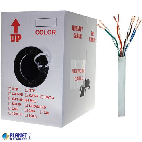 CP-C5E-ST-1K-WH 1000ft Bare Copper Cat5e Bulk Cable, 350MHz, Stranded Wire - White