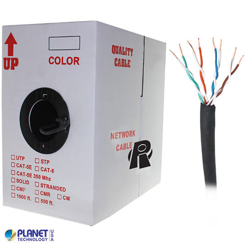 CP-C6-SD-OTD-2 1000ft Bare Copper 23AWG CMXF Cat6 Bulk Cable, Solid Wire, Full Flooded (Gel-Filled) Direct Burial - Black