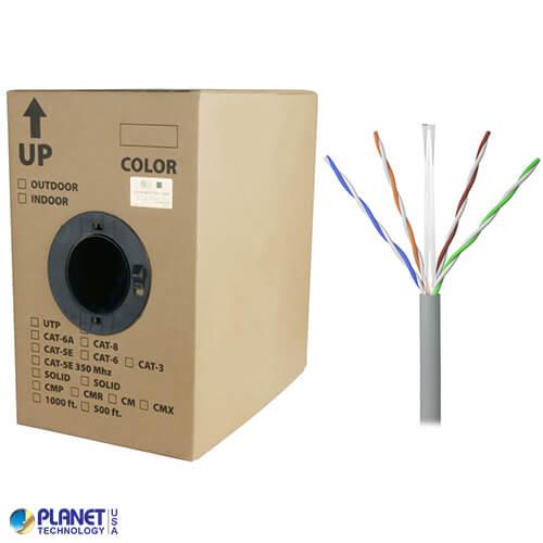CP-C6-SDP-GY 1000ft Bare Copper Cat6 Bulk Cable, Plenum, Solid Wire - Gray