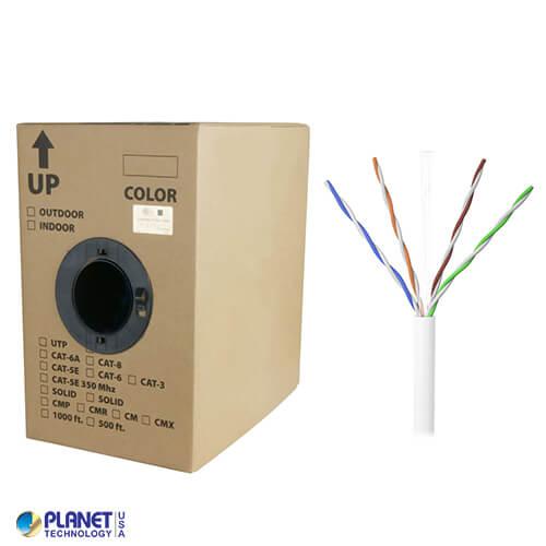 CP-C6-SDP-WH 1000ft Bare Copper Cat6 Bulk Cable, Plenum, Solid Wire - White