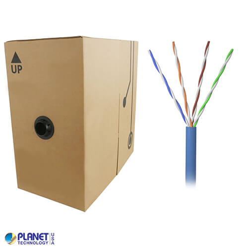 CPE-5E-SD-1K-BL 1000ft Bare Copper 24AWG CMR UTP Cat5e Bulk Cable, 350MHz, Solid Wire - Blue