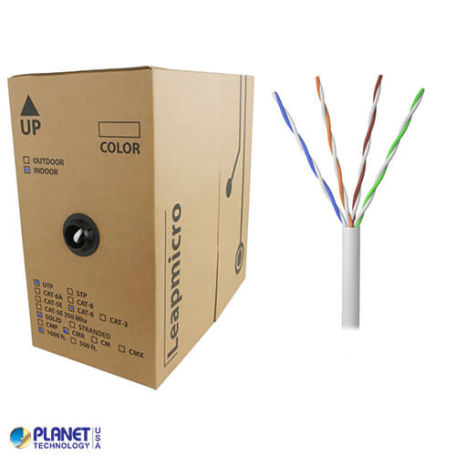 CPE-5E-SD-1K-WH 1000ft Bare Copper 24AWG CMR UTP Cat5e Bulk Cable, 350MHz, Solid Wire - White