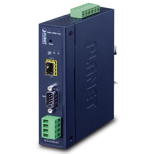ICS-2105AT Industrial 1-port RS232/422/485 Serial Device Server with 1-Port 100BASE-FX SFP