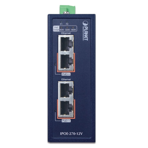 IPOE-270-12V Industrial PoE Injector Front