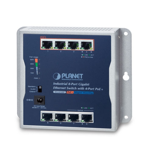 WGS-814HP Industrial 8-Port 10/100/1000T Wall-mounted Gigabit Switch with 4-port PoE+