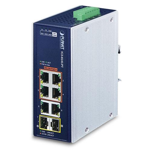 IGS-824UPT Industrial 4-Port 10/100/1000T 802.3bt PoE + 2-Port 10/100/1000T + 2-Port 100/1000X SFP Gigabit Ethernet Switch