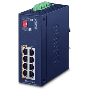 IPOE-470-12V Industrial 4-port 10/100/1000T 802.3bt PoE++ Injector Hub w/ 12V Booster