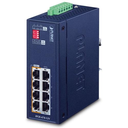 IPOE-470-12V Industrial 4-port 10/100/1000T 802.3bt PoE++ Injector Hub w/ 12V Booster